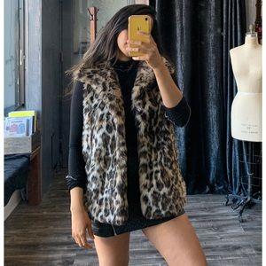 By Saks Fifth Avenue Fur Leopard Print Vest M